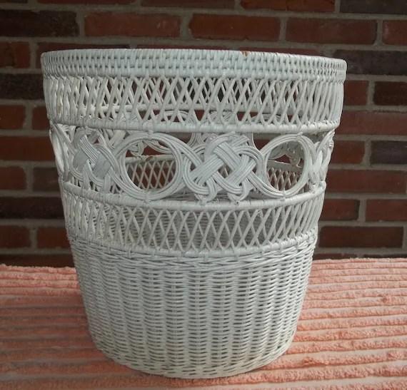 Vintage White Wicker Wastebasket Waste Basket Small Trash Can