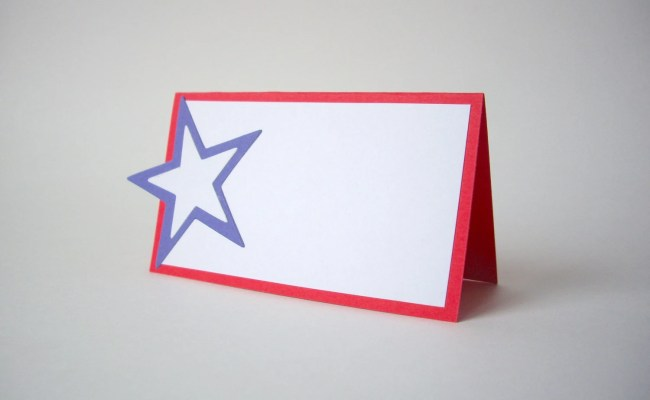 Red White And Blue Star Place Cards Patriotic By