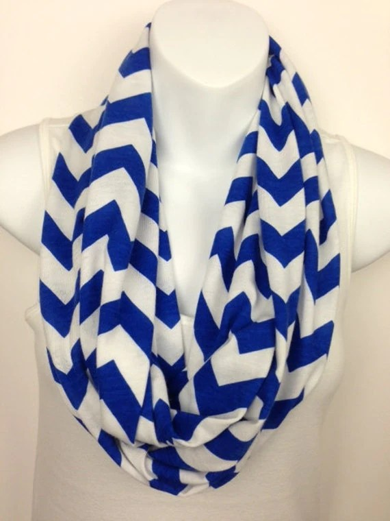 Royal Blue and White Chevron Jersey Knit Infinity Scarf