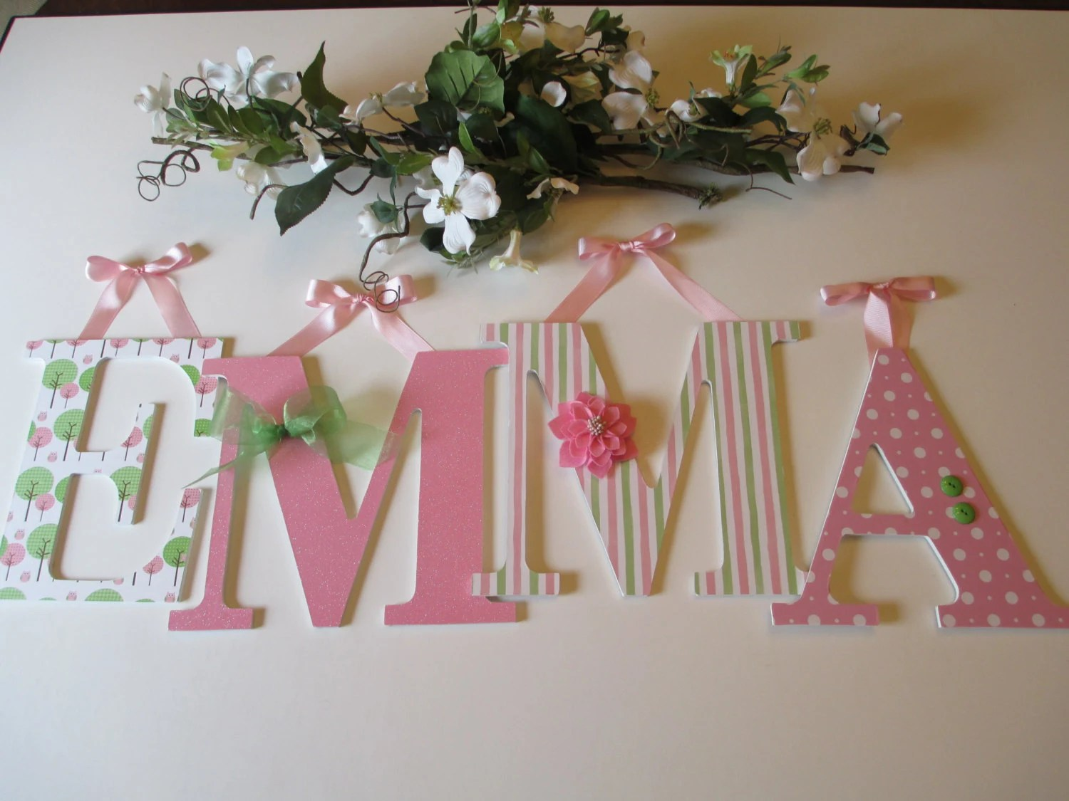 Nursery Girls Teens 9-1/2 Wooden Letters Her By