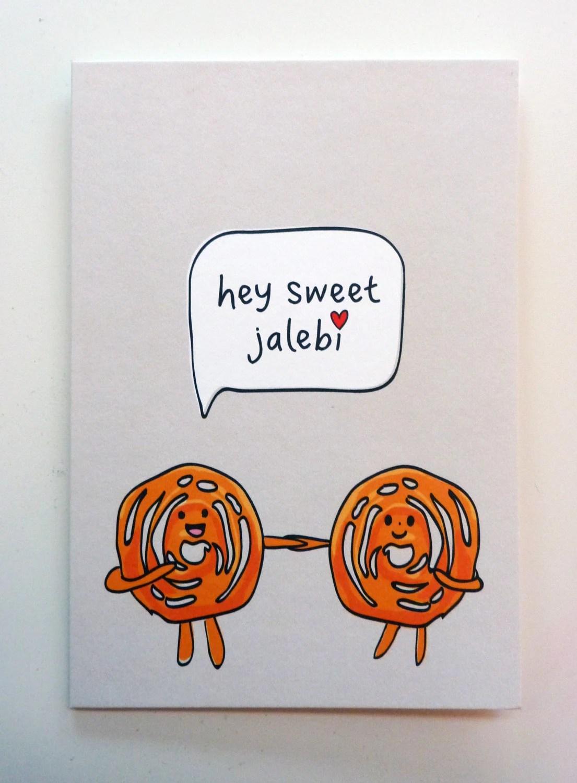 Funny Indian Food Inspired Greetings Card Jalebi Etsy
