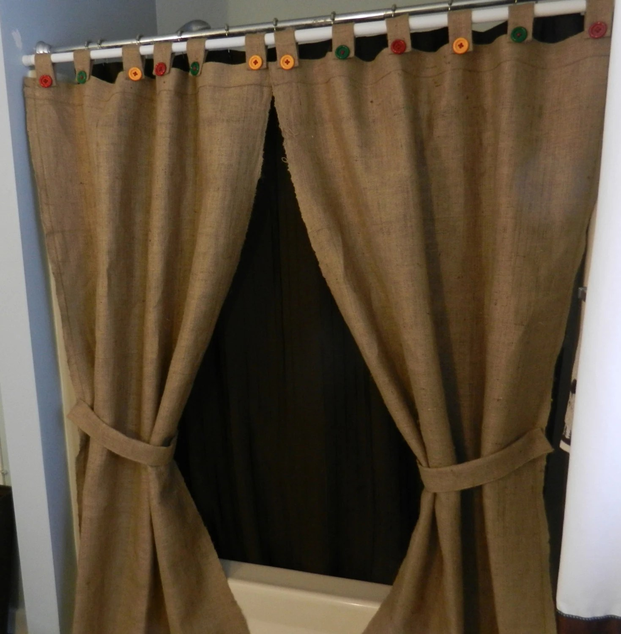 Burlap Tab Shower Curtain Or Window Panels 2