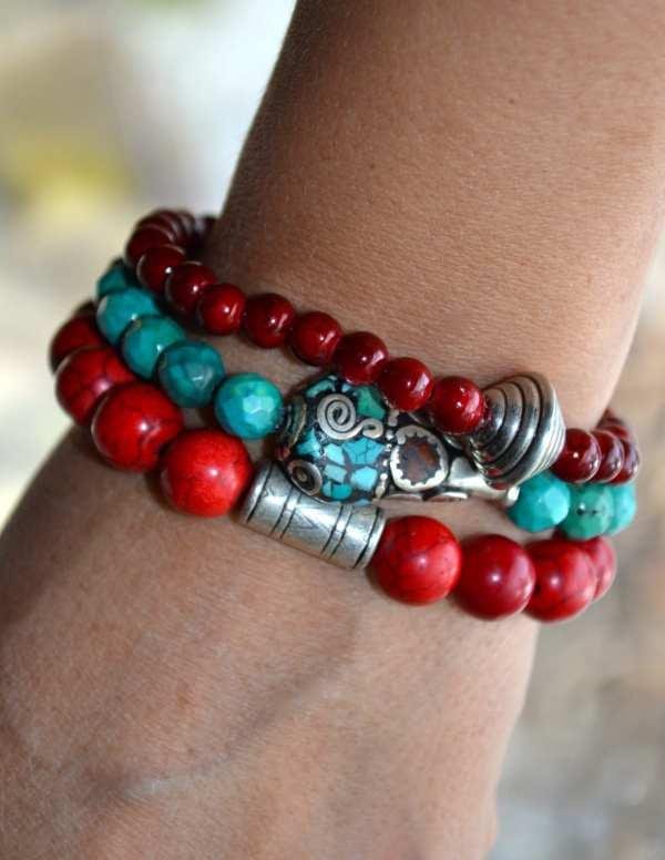 Set of 3 Boho Beaded Stretch Bracelets withTibetan Bead