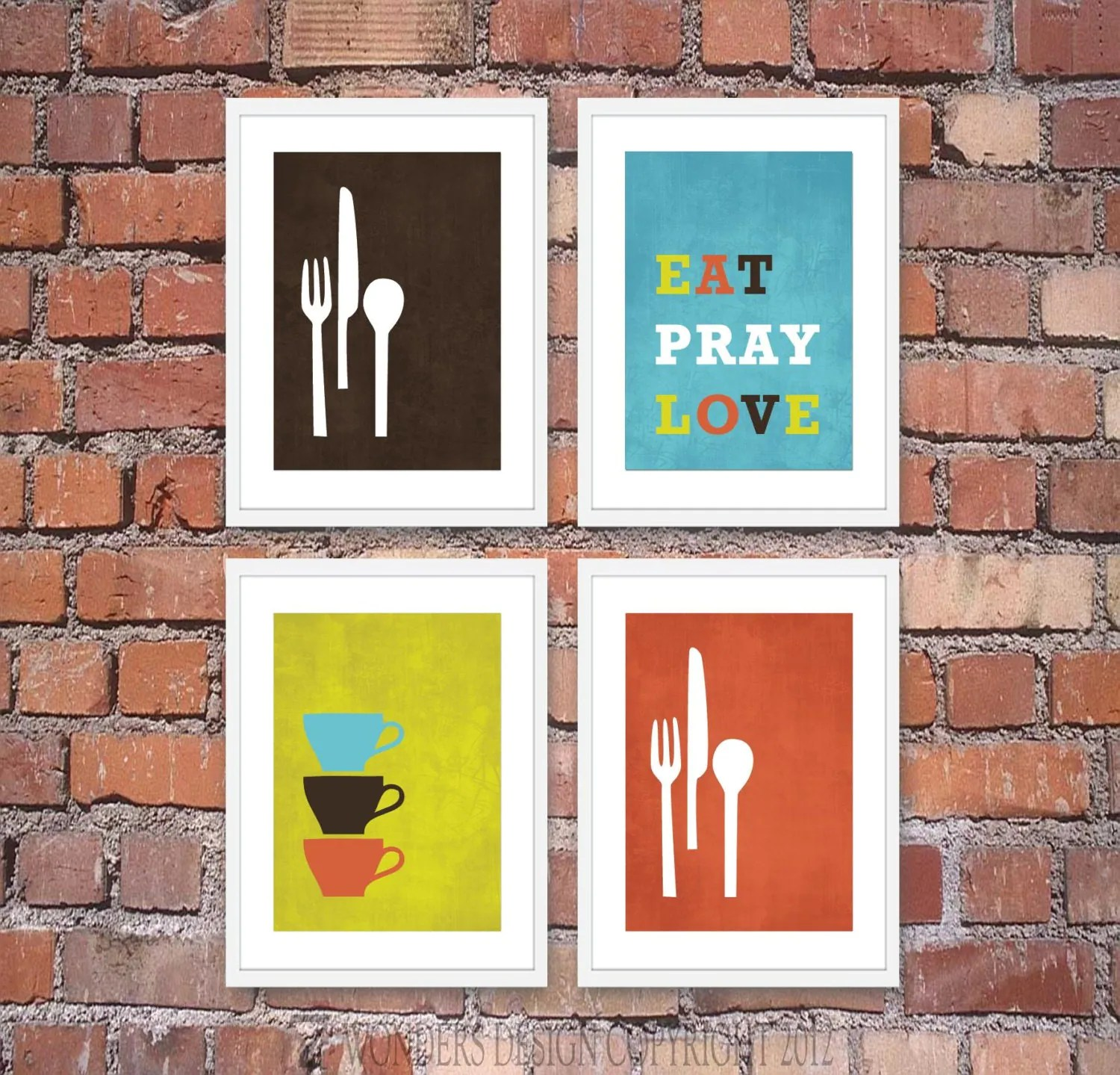 Modern Kitchen Wall Art Print Set Inspirational by 7WondersDesign