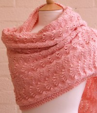 Items similar to Knitted pink lace shawl, wrap, scarf