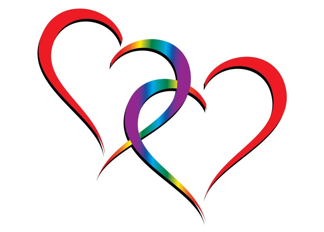 Download Two hearts one love Rainbow Hearts entwined