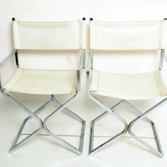 Directors Chair White Xmen Guy In Wheelchair 2 Chrome Chairs 1960 Mid Century Modern Vinyl