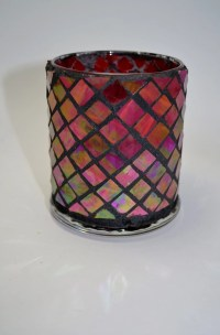 Red iridized Mosaic Candle holder/