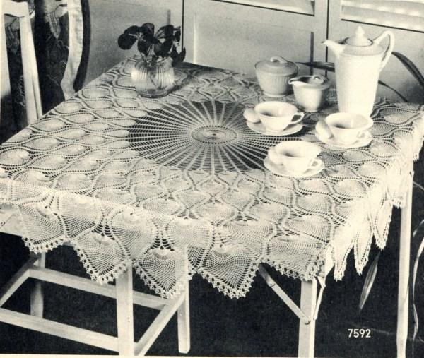 Pineapple Crochet Tablecloth Pattern 1946 Vintage