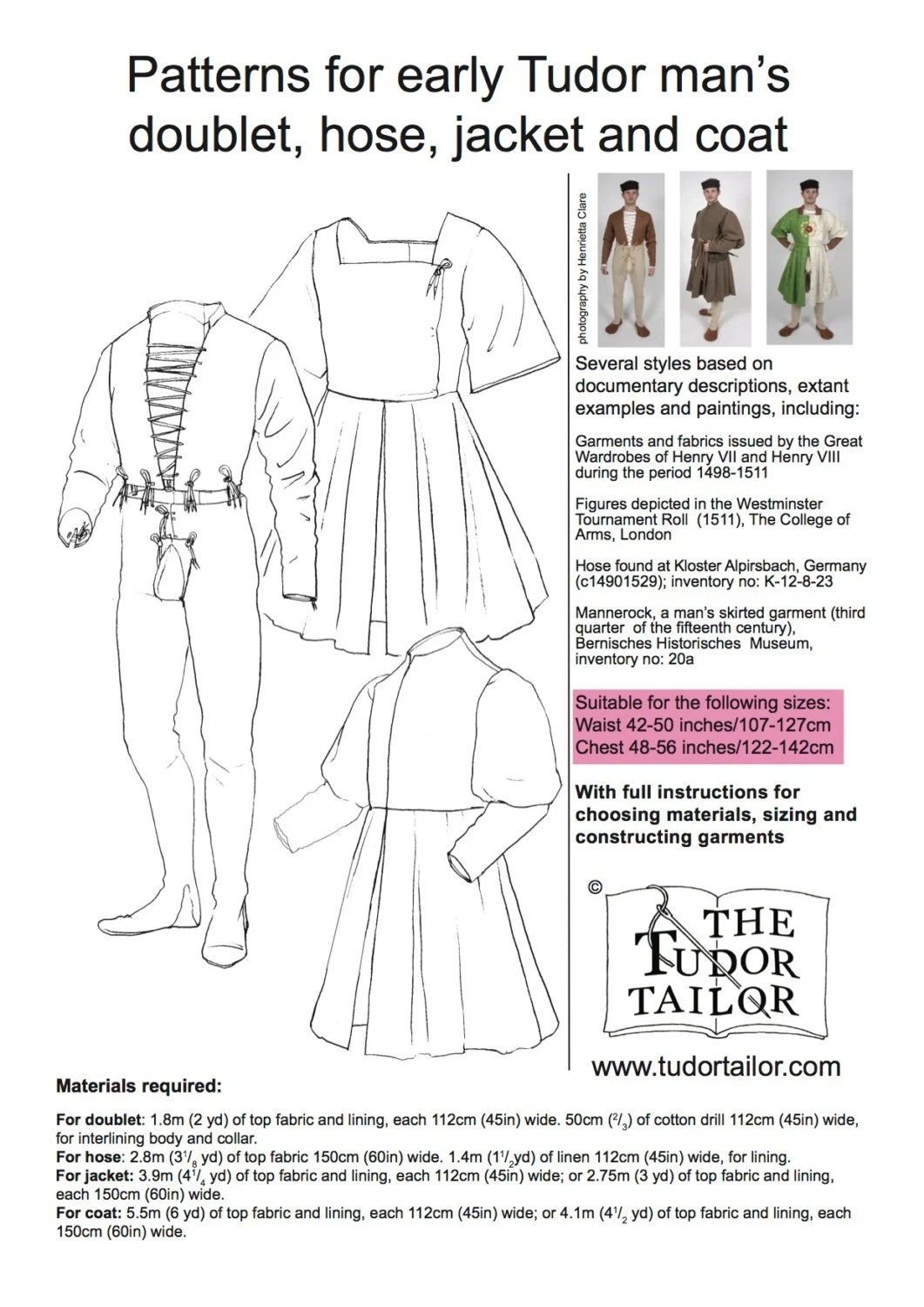 Pattern For Early Tudor Man S Doublet Hose Jacket And