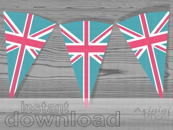 pink turqupise banner inspired by Union Jack flag DIY printable party banner  Download Immediately