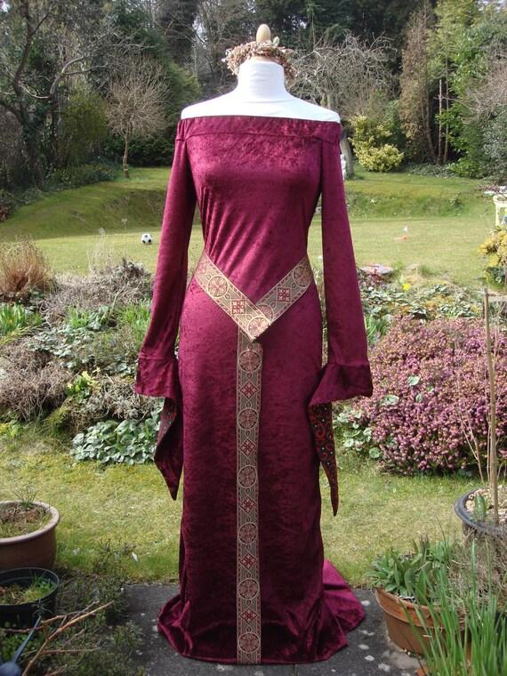 Bespoke burgundy red fantasy elven Celtic Medieval