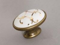 Ceramic Cabinet Knobs Antique Bronze Oval / Dresser Drawer