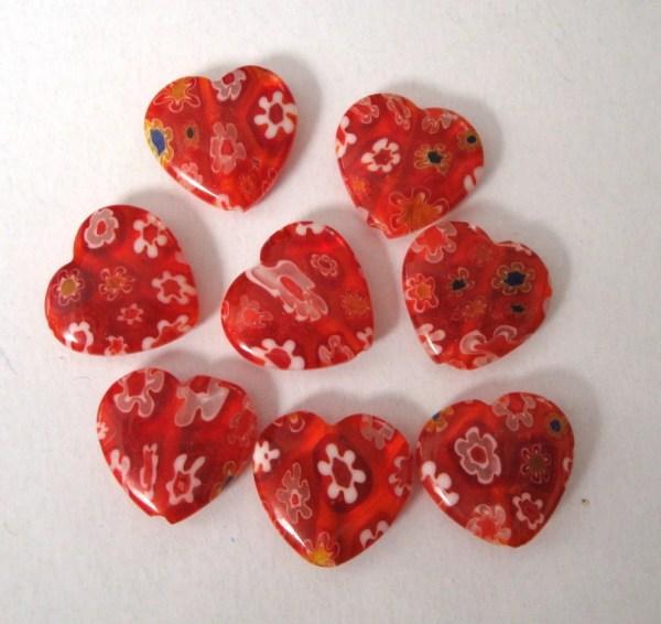 14mm Millefiori Glass Heart Beads Red X8 Mbh023