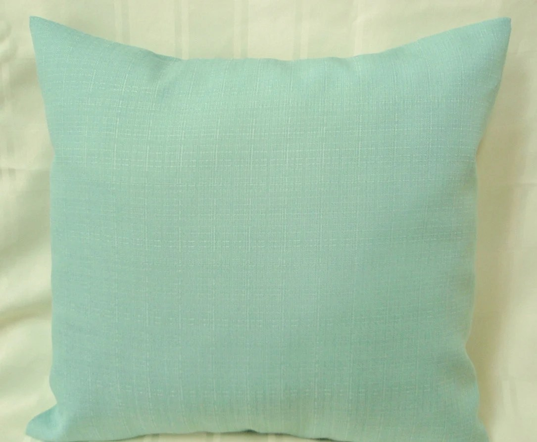 Solid color seafoam green throw pillow for indoor or outdoor