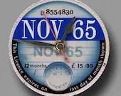 NOVEMBER 1965 Replica Road Tax Disc CD Clock - whimsicalfishy