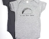 T is for Taco Baby Onesie (Heather Gray) - garbella