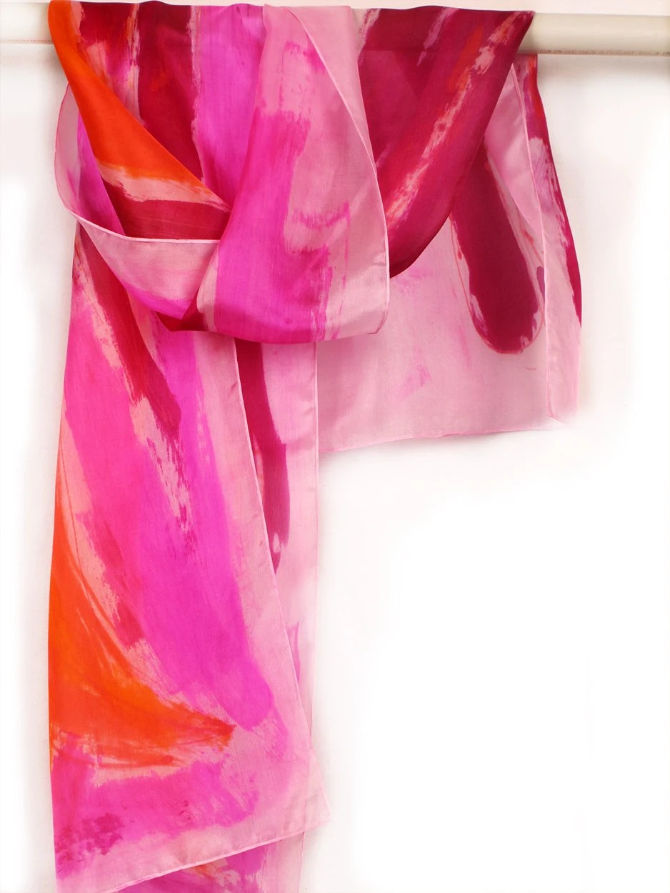 Hand painted pink scarf. Floral silk scarves in pink and orange. Bold colored scarf. Luxury scarf.Painting on silk by Dimo - klaradar
