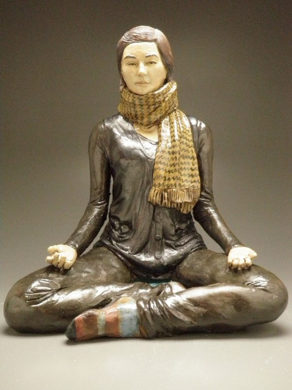 Yoga Art Ceramic Figure Sculpture Of Woman In Meditation