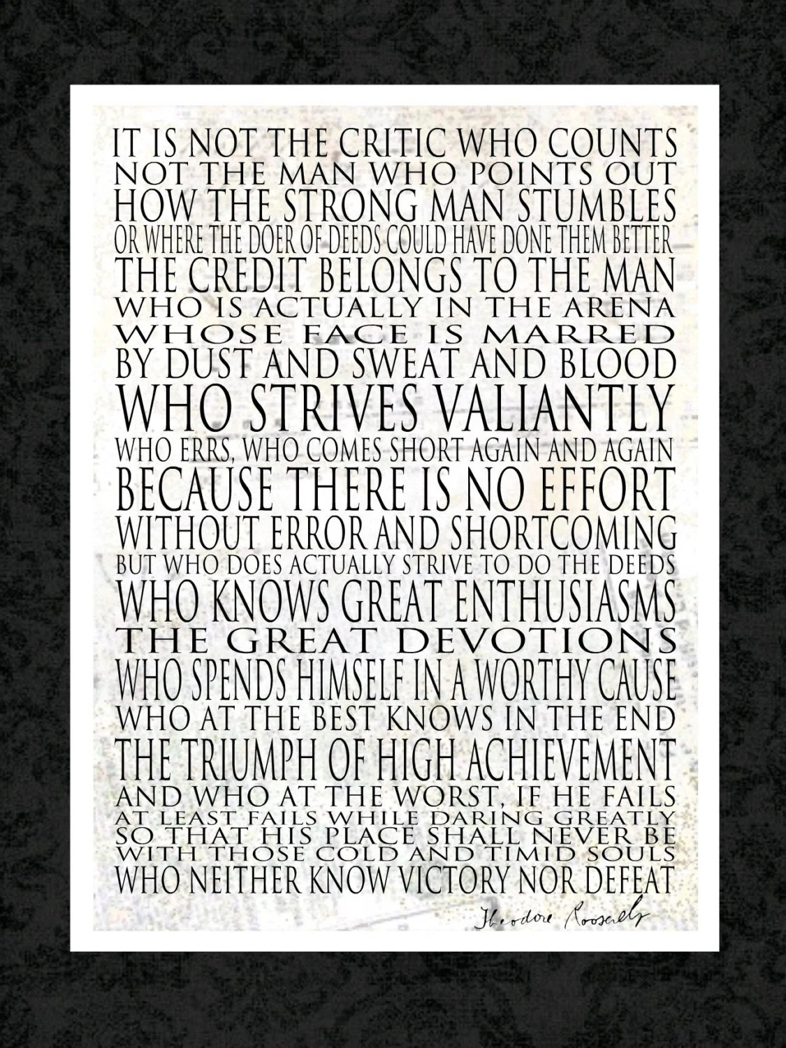 Man in the Arena Motivational Print - 11x14 - WORD ART PRINTS - Theodore Roosevelt