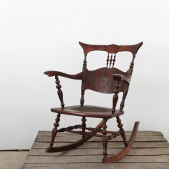 Rocking Chair Leather And Wood Plastic Cover Patterns Antique With Tooled Seat