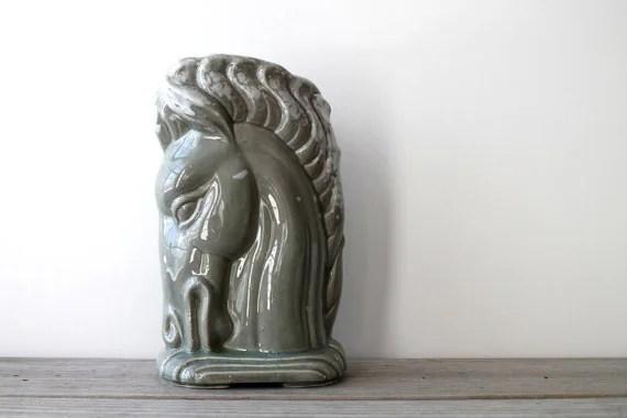 Vintage ceramic vase  art deco style  horse  masculine