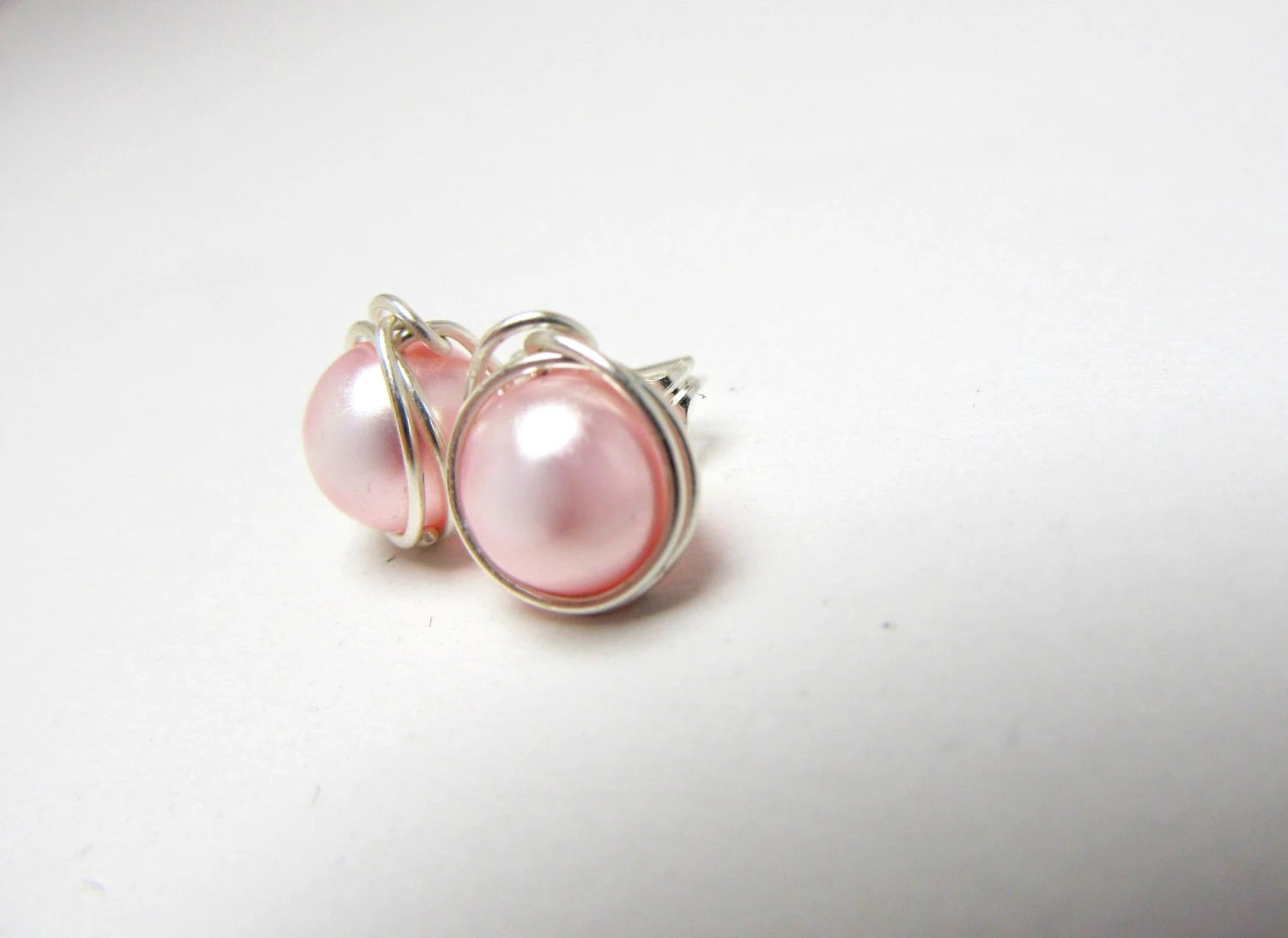 Items similar to Pale Pink Pearl Earrings, Sterling Silver