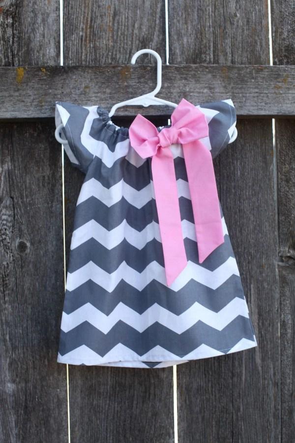 Gray Chevron Pink Bow Peasant Dress Baby Girl