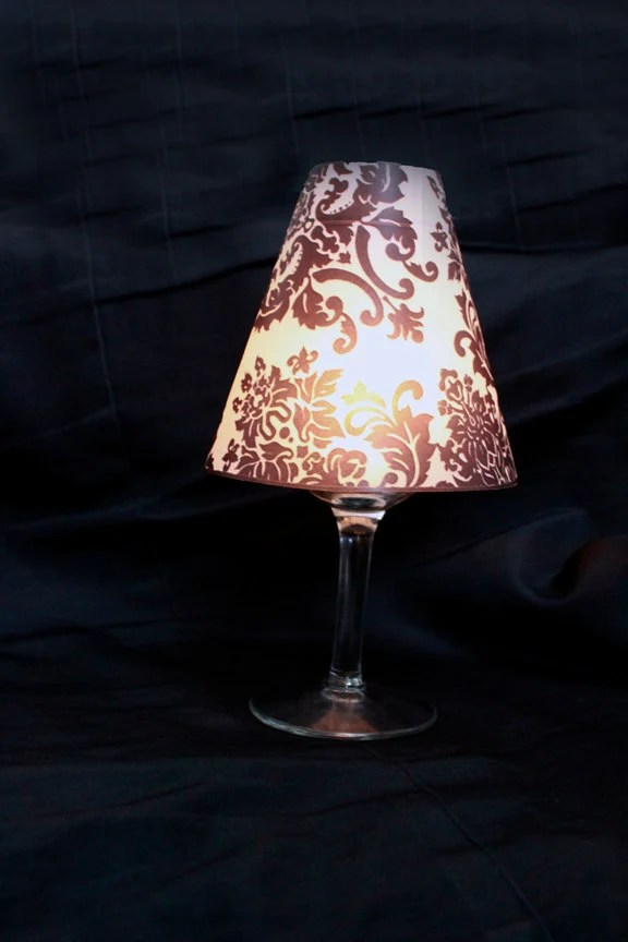 Damask Luminary Wine Glass Cover Damask Lamp Shade Damask