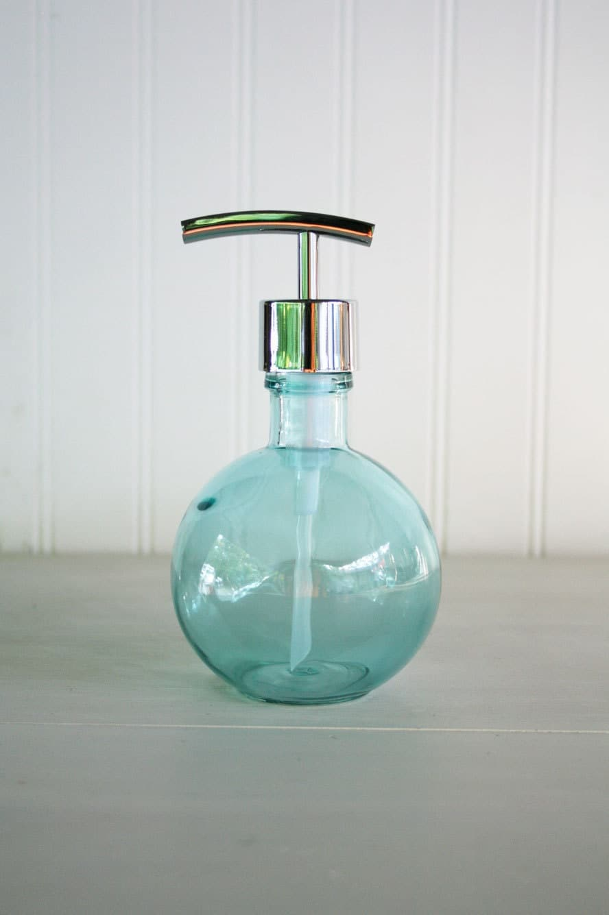 Moon Round Recycled Glass Soap Dispensers Baby Beach Blue