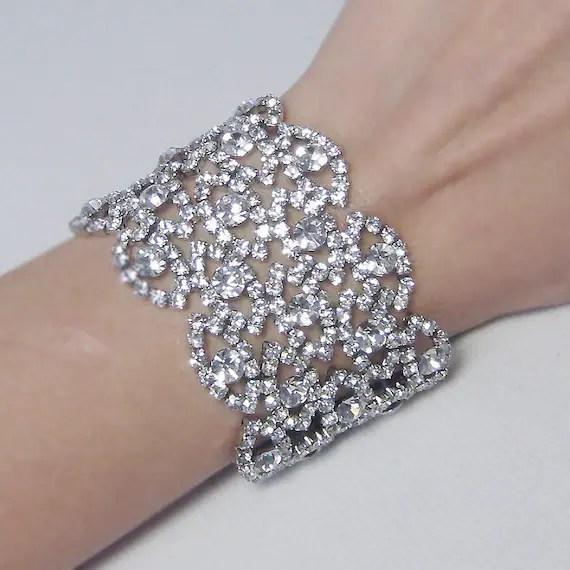 Rhinestone Wide Bridal Bracelet Wedding Cuff Bracelet