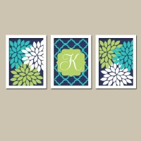 Wall Art Navy Blue Lime Green Turquoise Monogram by TRMdesign