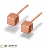 Cube stud earring Mini Cube Stud Earrings 14 kt rose gold