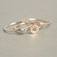 gold stacking ring SET. initial ring. gold diamond ring.