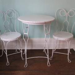 Ice Cream Parlor Chairs Barber For Sale Vintage Table Chair Wrought Iron Shabby Chic