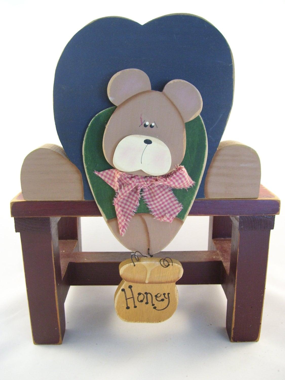 Teddy Bear Handmade Wood Honey Bear Shelf Sitter