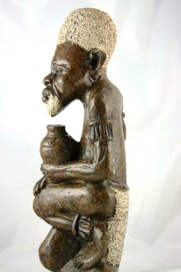 African Shona Sculpture Serpentine Stone 14h X 5w