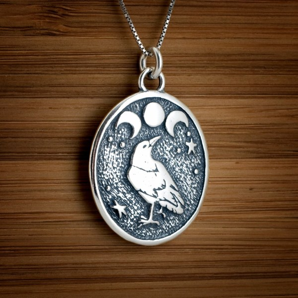 Triple Moon Pendant and Raven