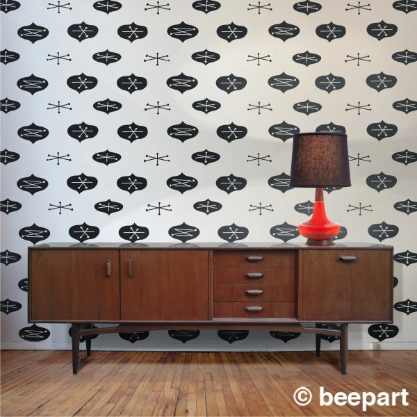 Mid Century Modern Vinyl Wall Decal Pattern Abstract