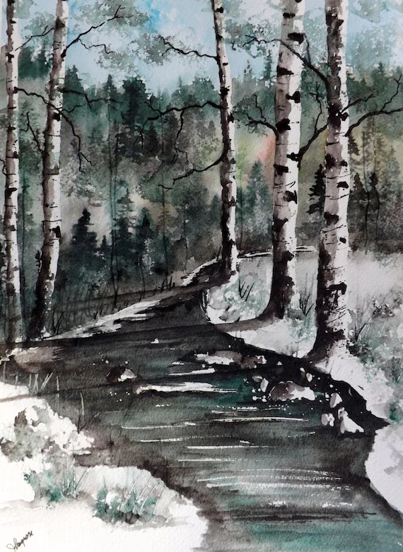 original watercolor landscape birch