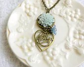 Blue Flower Neclace - Mother's Day Antique Bronze Cabochon - glitteringdreams