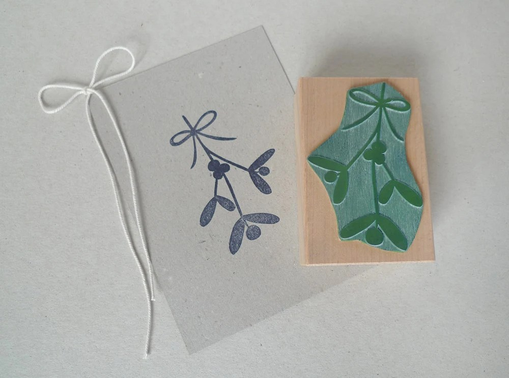 Botanical rubber stamp: Mistletoe with bow - karamelo