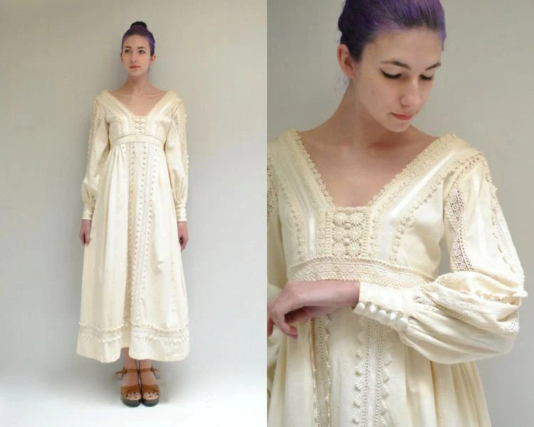 Mexican Wedding Dress  Cotton Lace Dress  THE BELLA