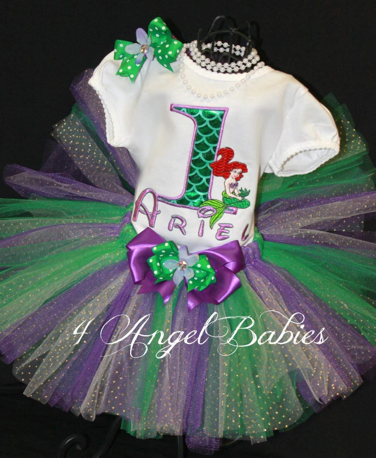Girls Birthday Tutu Outfit Little MERMAID Princess or Flounder