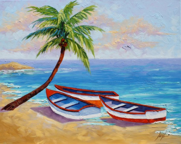 boat oil painting tropical beach