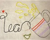 Happy Food -the tea, the italian coffee maker and the noodles hand embroidery pattern- instant download - Vebo