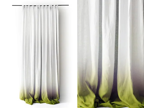 Ombre Curtain Linen Drapes Green Fade To White By