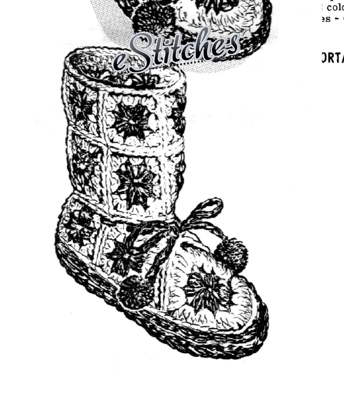 Childs Slippers Granny Square Boot High and Low Make Your