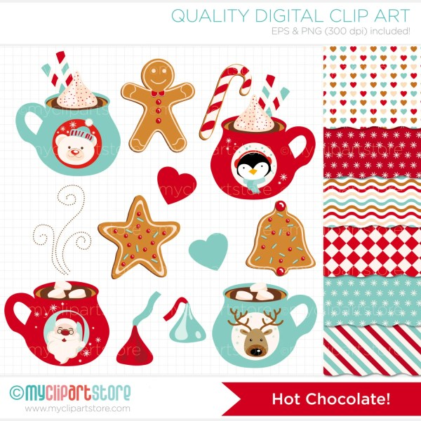 christmas hot chocolate clipart