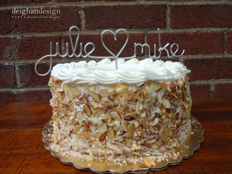 Custom Cake Topper Wedding Cake Topper Wire Names by FoxblossomCo